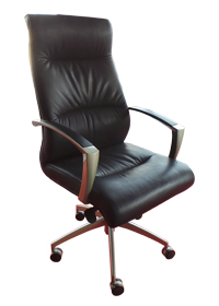 Black Leather Executive Swivel Chair with Chrome Arms