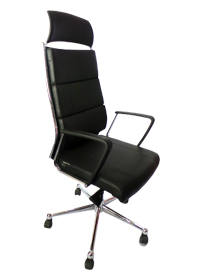 Black Leather Swivel Chair with Headrest