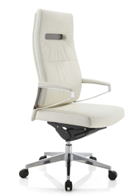 High White Leather Swivel Chair